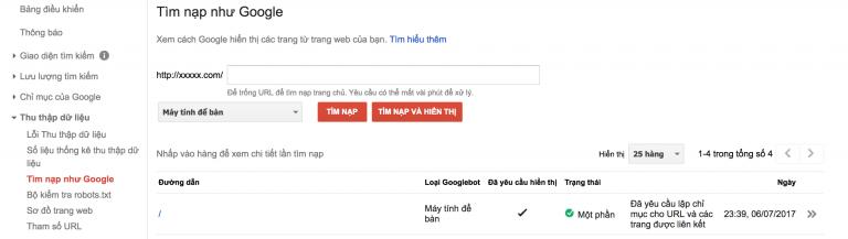 Tìm nạp index URL
