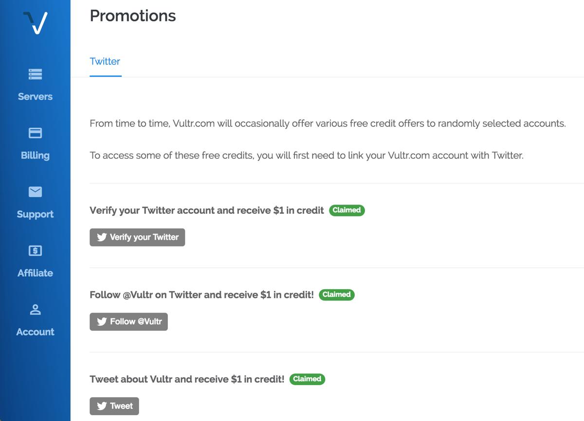 Vultr tặng thêm 3$ khi liên kết với Twetter