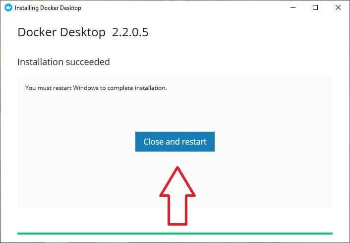 """Sau khi tải về và cài đặt thành công, click chọn """"Close and restart"""""""