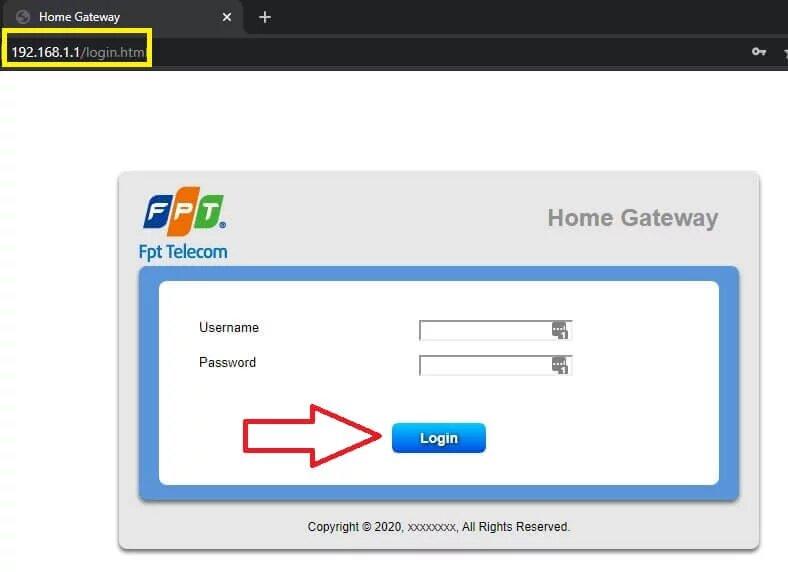 Giao diện khi truy cập vào Ip modem từ trình duyệt web, các bạn nhập user và pass