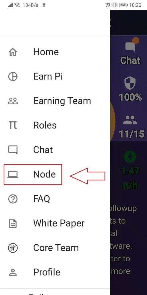Mở ứng dụng Pi Network trên điện thoại - vào mục Node và nhập mã truy cập