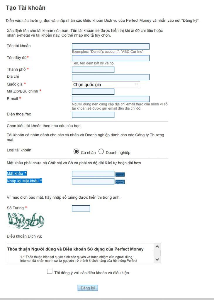 Nhập đầy đủ thông tin chính xác để đăng ký