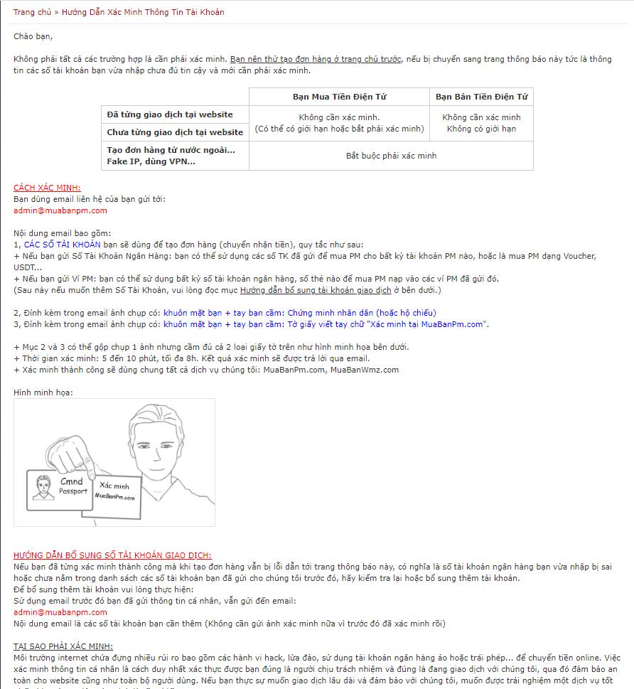 Yêu cầu xác thực thông tin từ MuabanPM.com